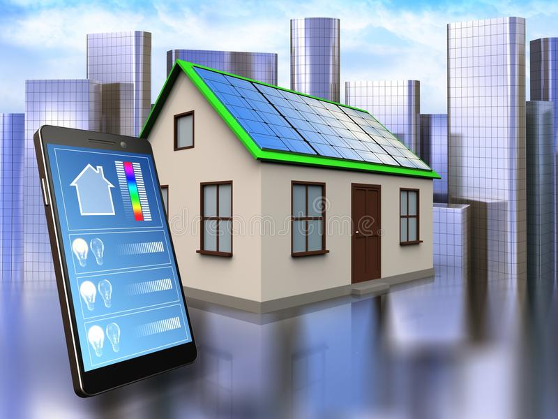 3d phone application over city. 3d illustration of home with solar panel with phone application over city background royalty free illustration