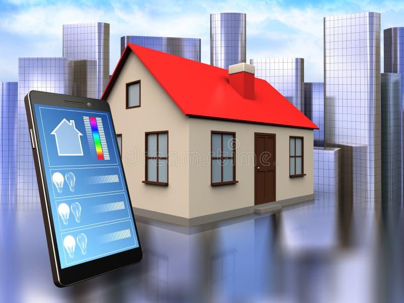 3d phone application over city. 3d illustration of house with phone application over city background stock illustration