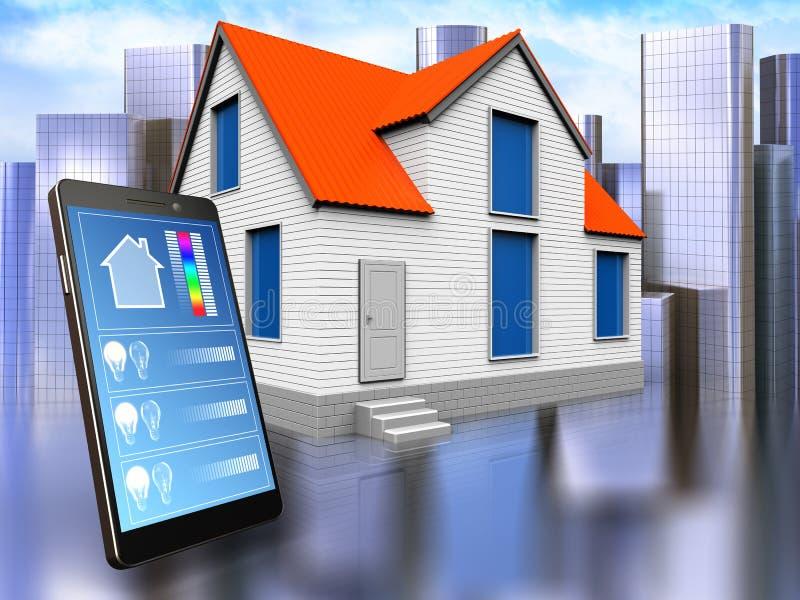 3d phone application over city. 3d illustration of house with phone application over city background royalty free illustration