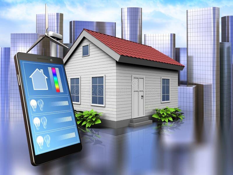 3d phone application over city. 3d illustration of wind energy house with phone application over city background vector illustration