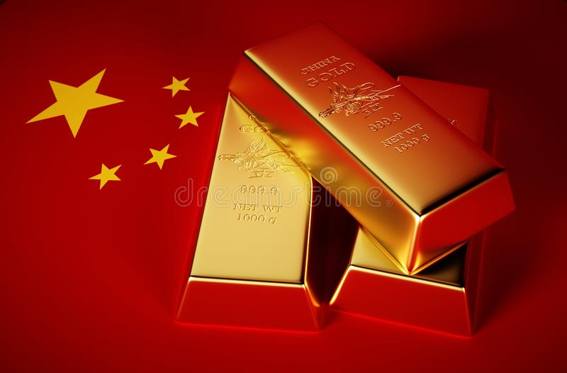 3d Photo-realistic image of golden bricks with china background.  royalty free illustration