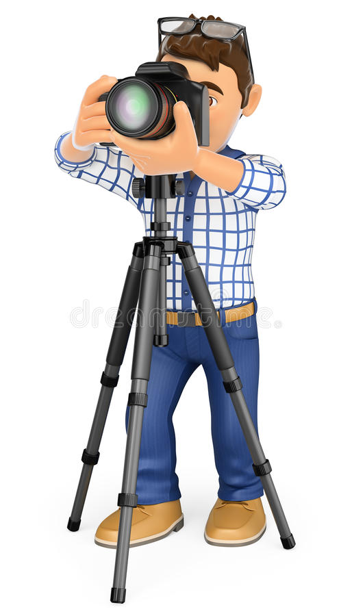3D Photographer with camera and tripod taking a picture. 3d working people. Photographer with camera and tripod taking a picture. White background royalty free illustration