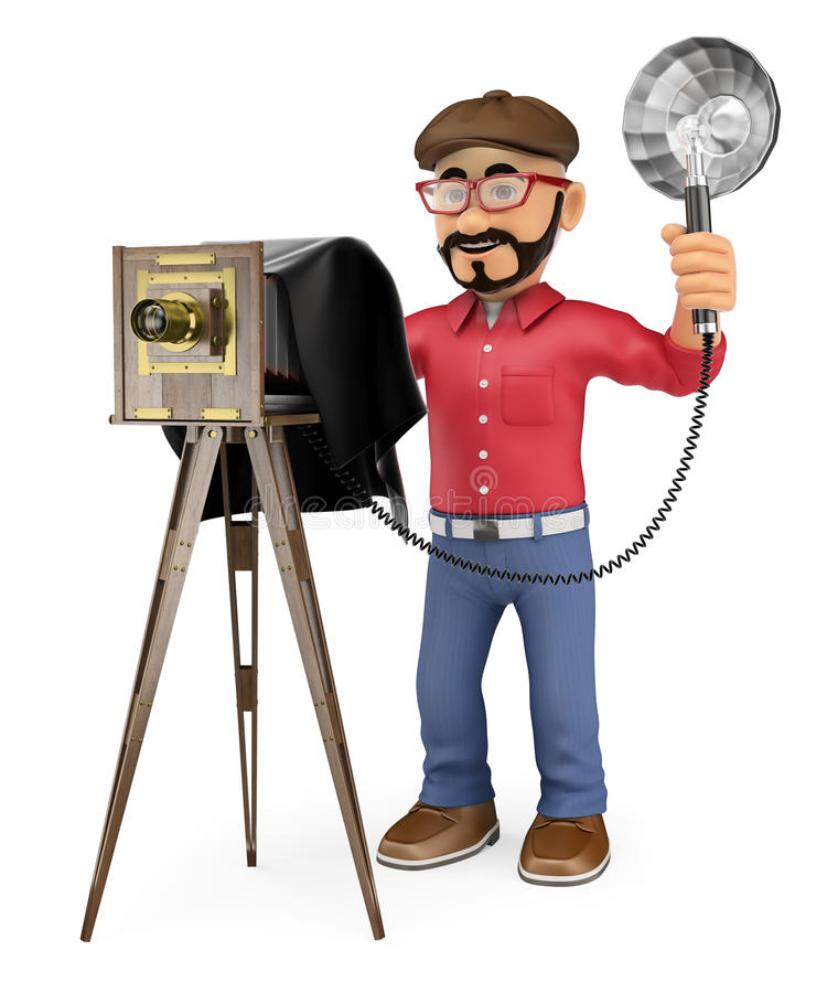 3D Photographer taking a photo with a vintage camera. 3d working people illustration. Photographer taking a photo with a vintage camera. White background royalty free illustration