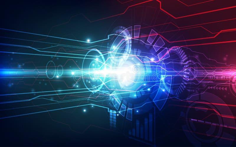 3 d photographische Technologieinnovation der futuristischen Hochgeschwindigkeitslinse Hohe Digitaltechnik-Blaufarbe der Illustra stock abbildung