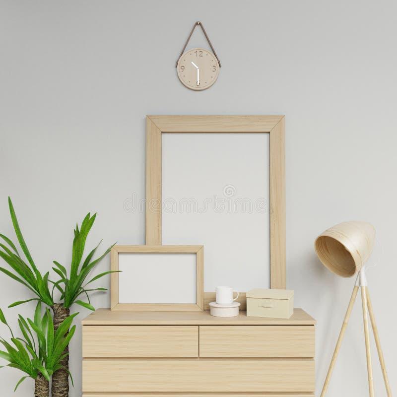 3d Photoreal geeft van comfortabel huis binnenlandse 3d illustratie van twee a1 en leeg de affichemodel van a3 met terug lichte h stock illustratie