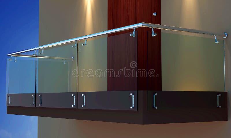 3D Photorealistic balkon, wieczór veiw ilustracja wektor