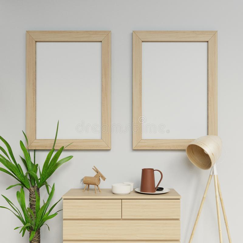3d photorealistic home interior render of two a1 poster mockup design template with vertical wooden frame hanging on the clean stock illustration