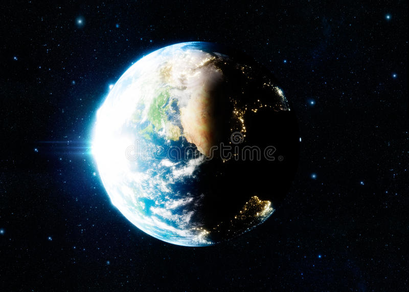3d photorealistic rendering of Earth and moon. stock illustration