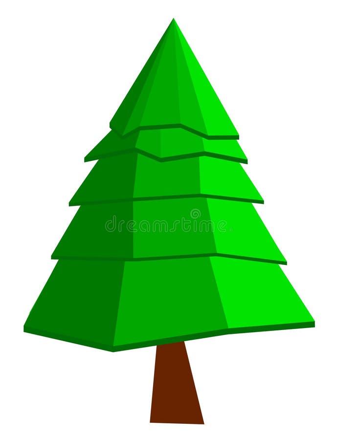 2D photoshop minuscolo di Toon dell'albero di Natale fotografia stock