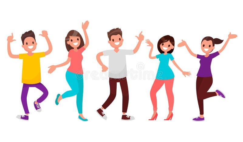 3d piękni dancingowi ilustracyjni ludzie trzy bardzo Szczęśliwi mężczyzna i kobiety ruszają się muzyka Wektor il ilustracja wektor