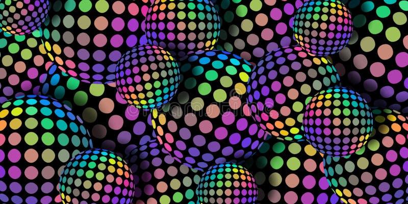 3d piłek błękitnej zieleni koloru żółtego lilych menchii holograma gradientowa mozaika Kreatywnie abstrakcjonistyczny sfery tło ilustracja wektor