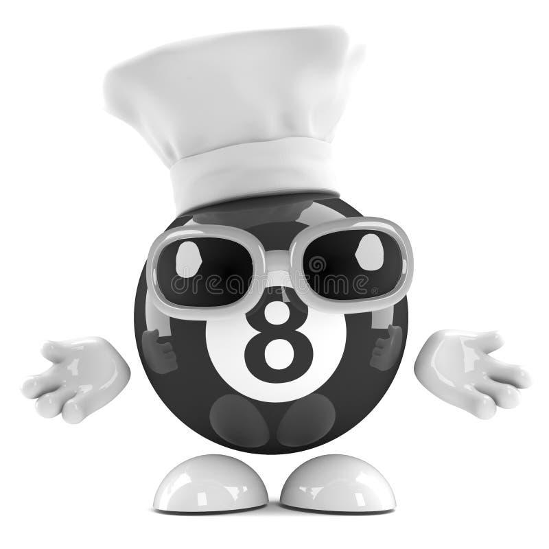 3d 8 piłka ubierająca jako szef kuchni ilustracji