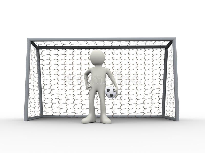 3d piłki nożnej bramkarza futbolowa pozycja w celu z piłką ilustracja wektor