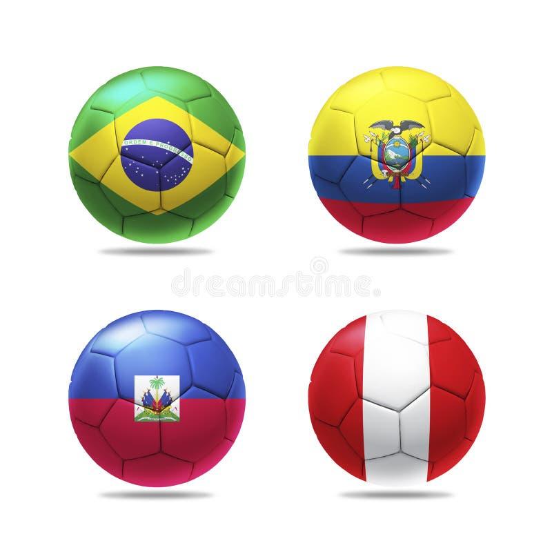 3D piłki nożnej piłka z grupowym b zespala się flaga ilustracji