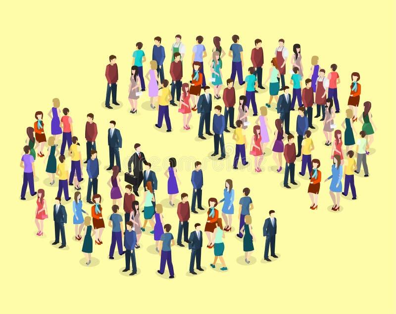 3D piano isometrico ha isolato il grafico di Infographic di vettore che consiste di una folla della gente illustrazione di stock