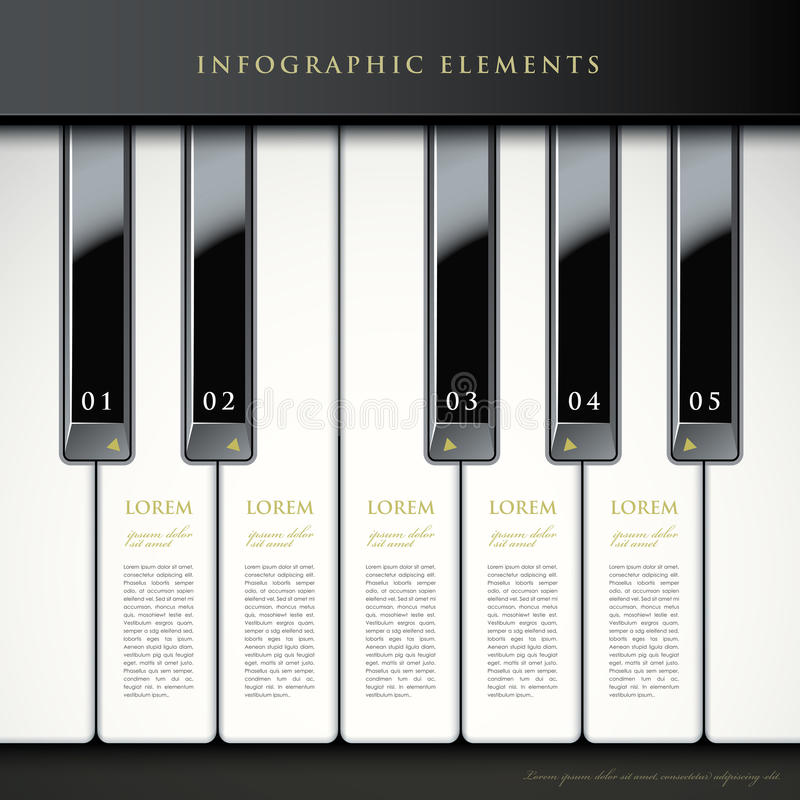 3d piano keys infographic elements royalty free illustration