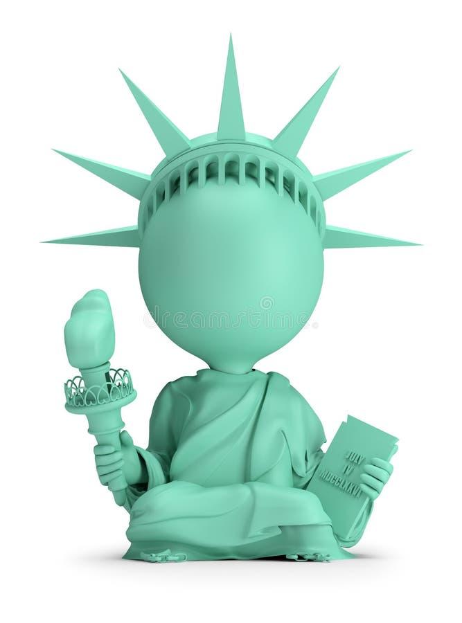 3d piccola gente - meditare statua della libertà royalty illustrazione gratis