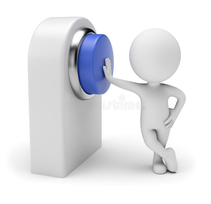 3D piccola gente - spingere bottone blu illustrazione vettoriale