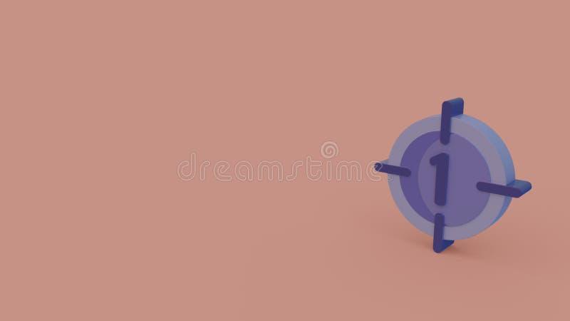 3d pictogram van aftelprocedure stock illustratie