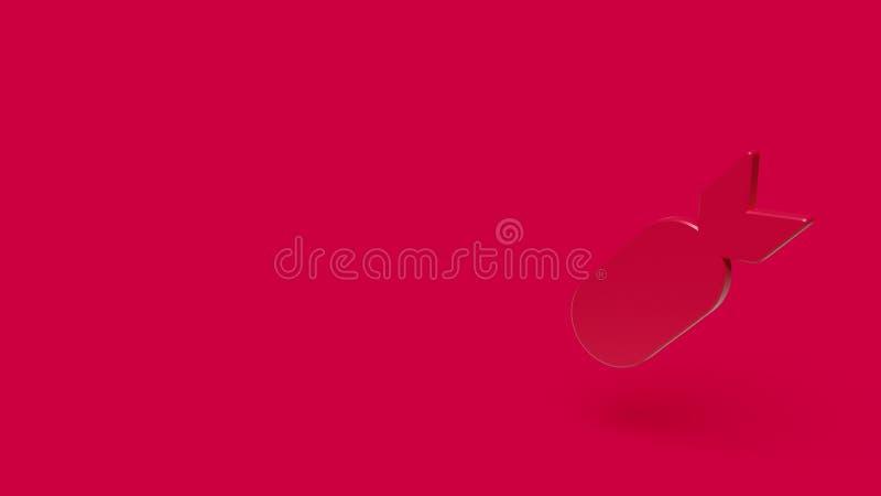 3D pictogram van bom met rode achtergrond stock afbeelding
