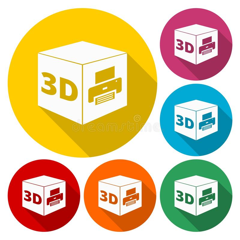 3D pictogram van het Drukteken, 3d symbool van de kubusdruk royalty-vrije illustratie