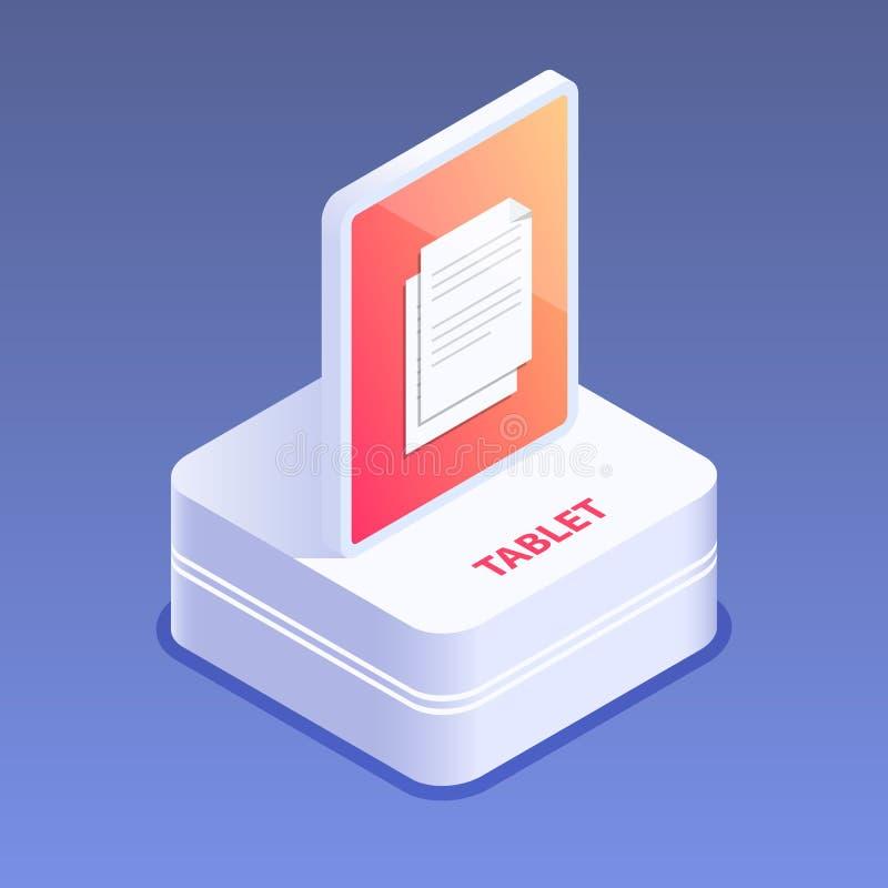 3d pictogram van het tabletapparaat Digitaal gadget Touchscreen tabletgloed Vlakke isometrische vectorillustratie stock illustratie