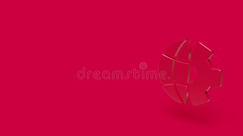3D pictogram van planeet met rode achtergrond stock foto's