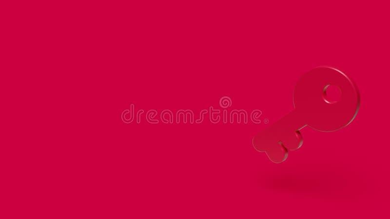 3D pictogram van sleutel met rode achtergrond stock afbeelding