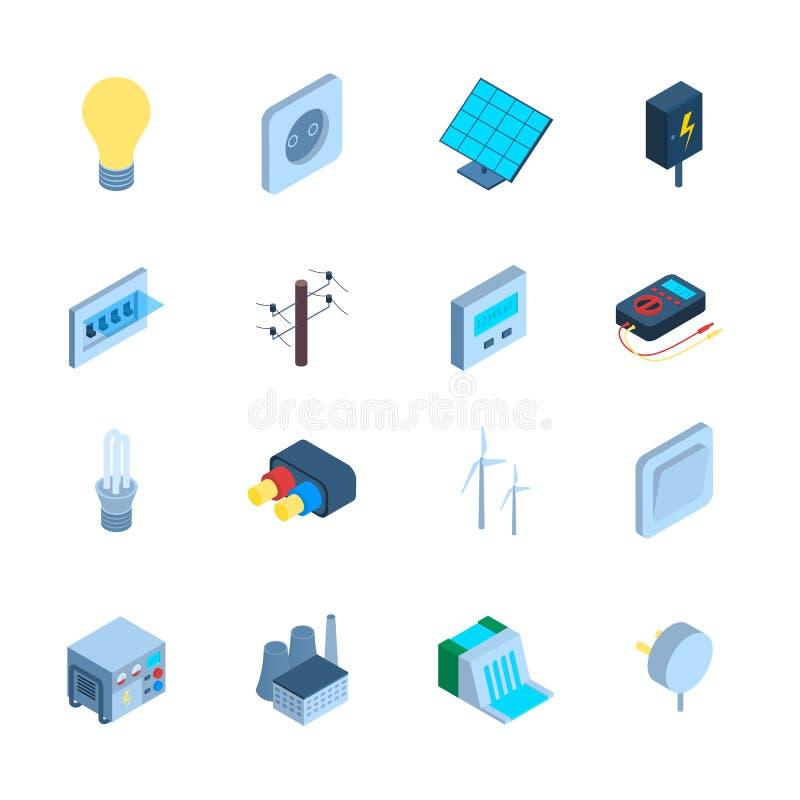 3d Pictogram Vastgesteld Isometrisch Weergeven van het elektriciteitsteken Vector stock illustratie