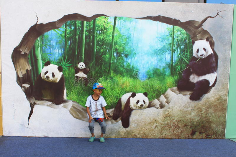 3D picture exhibition. From September 10th to November 8th 2014.Beijing,China stock image