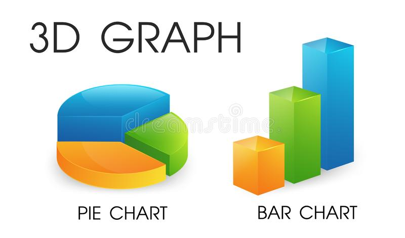 3D pie and bar chart that looks beautiful and modern royalty free illustration