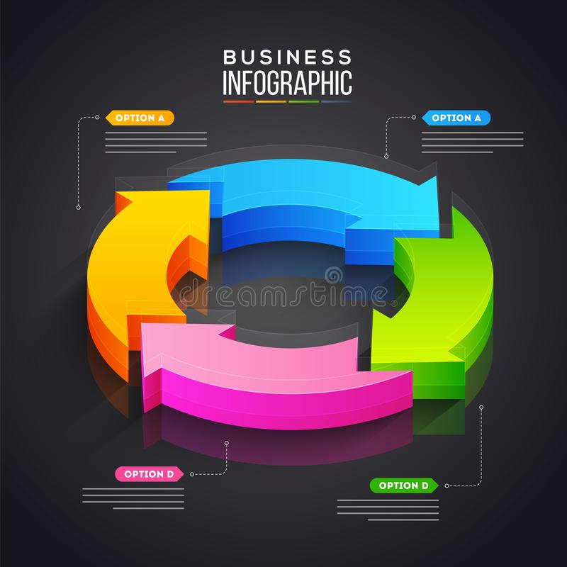 3D pie chart with four arrow step for Business Infographics presentation. stock illustration