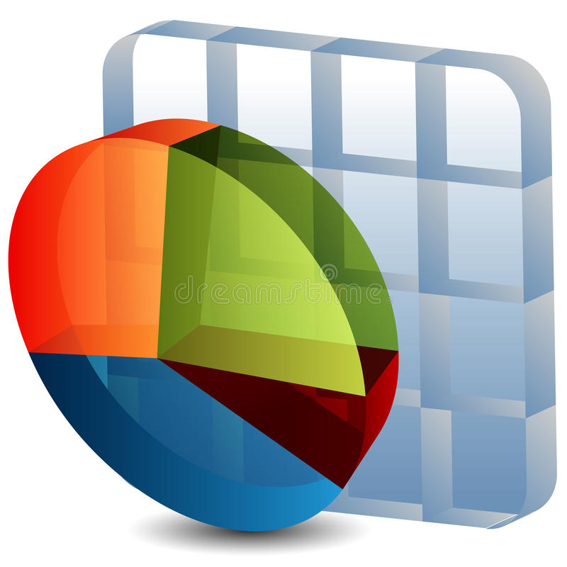 3d Pie Chart Grid. An image of a 3d pie chart grid royalty free illustration