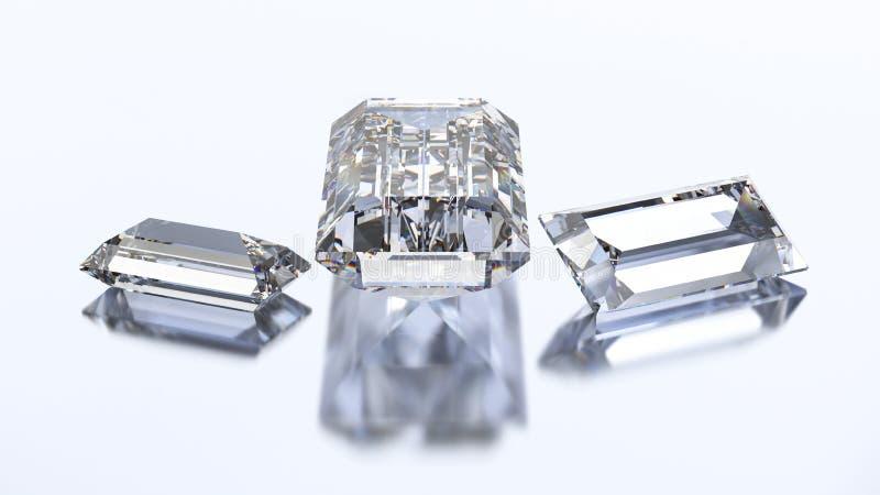 3D piedra del diamante del baguette del ejemplo tres stock de ilustración