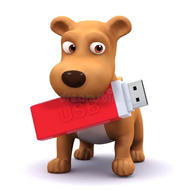 3d pies z USB pamięci kijem w jego usta ilustracja wektor