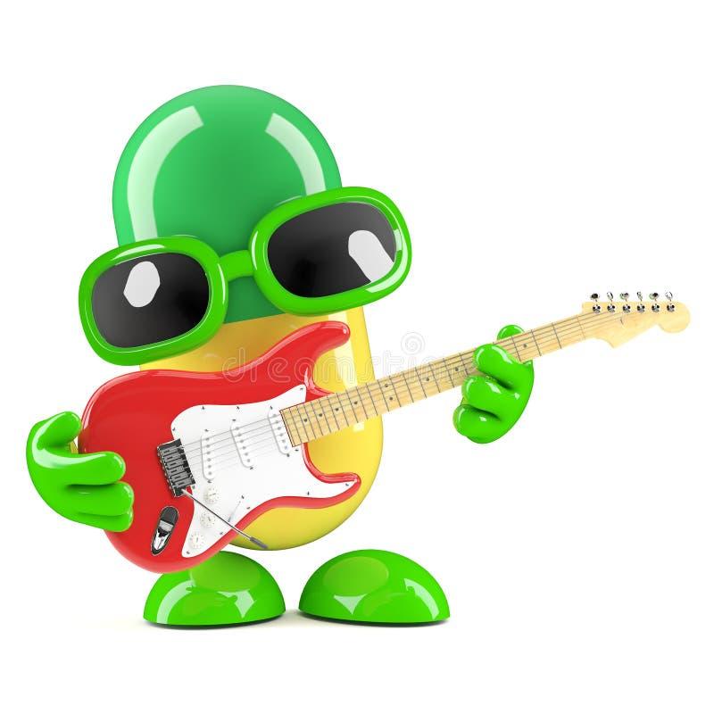 3d pigułka bawić się gitarę elektryczną ilustracji