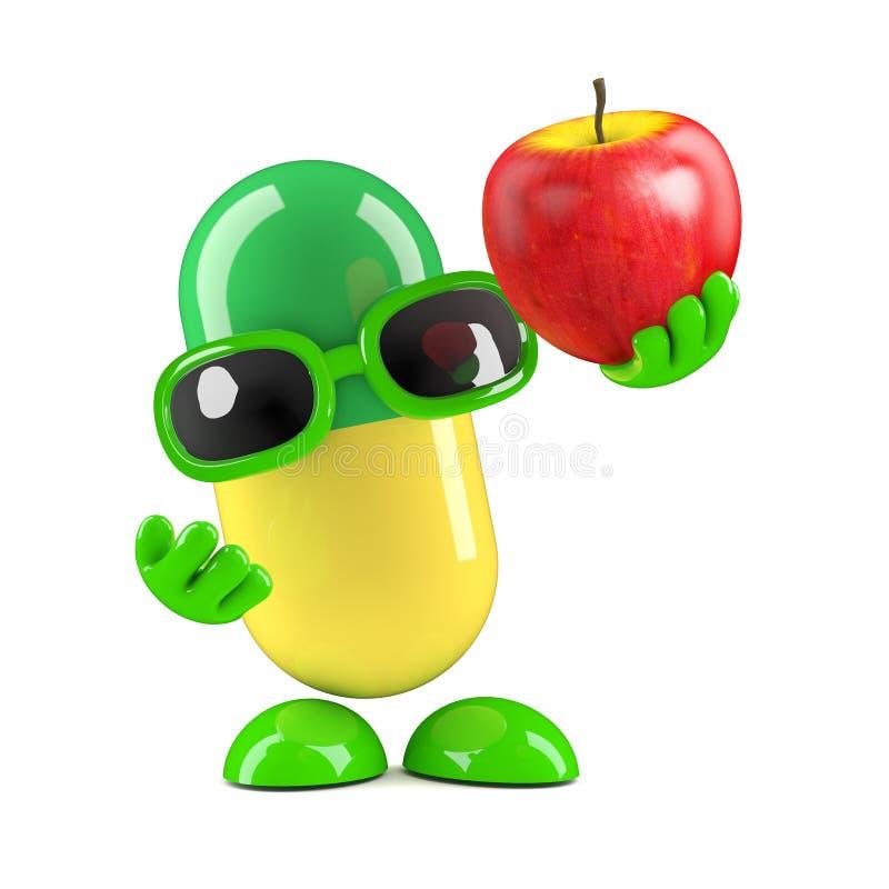 3d pigułka podtrzymywał świeżego jabłka ilustracja wektor