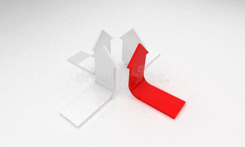 3D pijlen - de leiding van het de groeiconcept stock afbeelding
