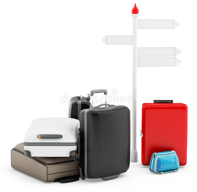 3d Pile Of Luggage By A Sign Royalty Free Stock Images
