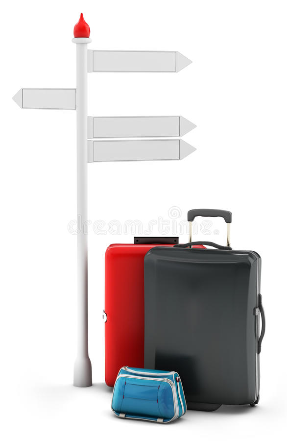 Download 3d Pile Of Luggage By A Sign Stock Illustration - Illustration: 30990905