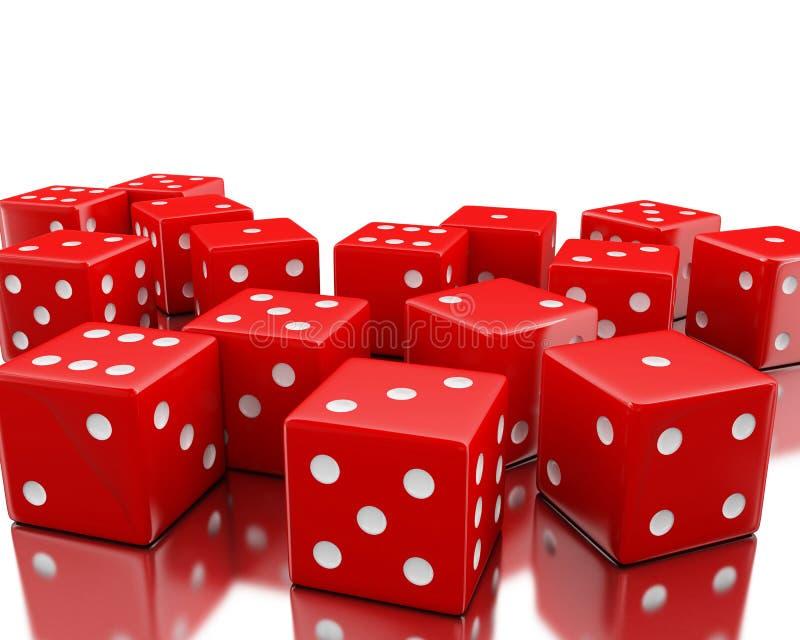 3d Pile of red random dices. 3d illustration. Pile of red random dices. Gambling concept. Isolated white background stock illustration