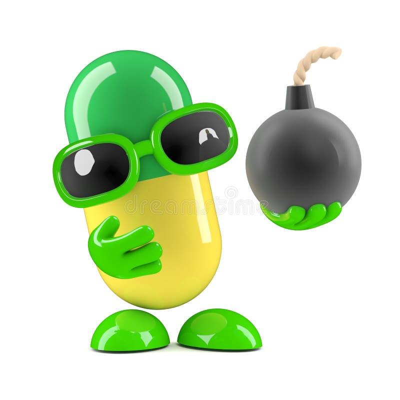 3d Pill has a bomb royalty free illustration
