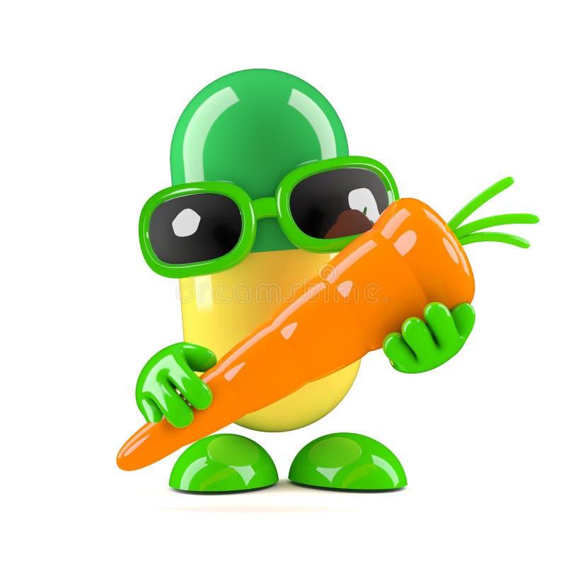 3d Pill holding a carrot stock illustration