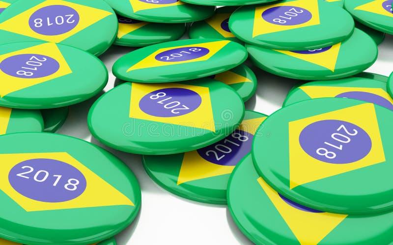 3d Pin Elections 2018 Vote du Brésil illustration stock