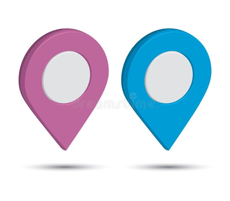 3D Pin Icon Set imagem de stock