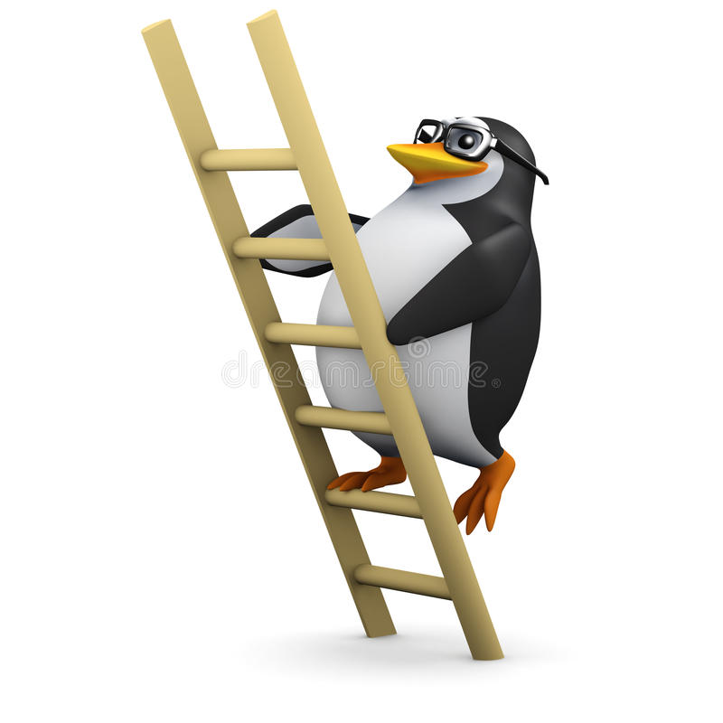 3d Pinguïn beklimt de ladder stock illustratie