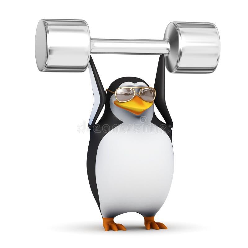 3d Pinguïn heft gewichten boven zijn hoofd op vector illustratie