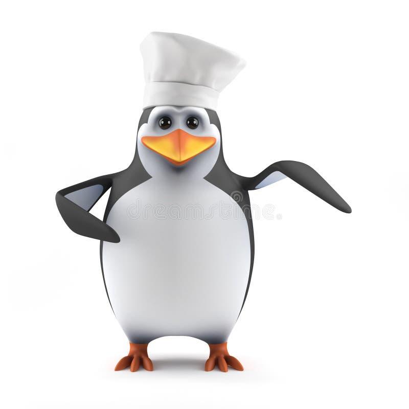 3d Pinguïnchef-kok royalty-vrije illustratie