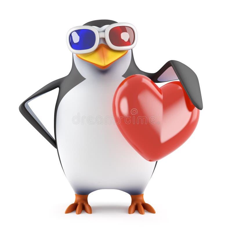 3d pingwin trzyma czerwonego serce w 3d szkłach ilustracja wektor
