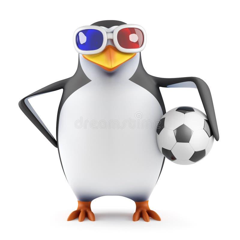 3d pingwin trzyma futbol w 3d szkłach ilustracji